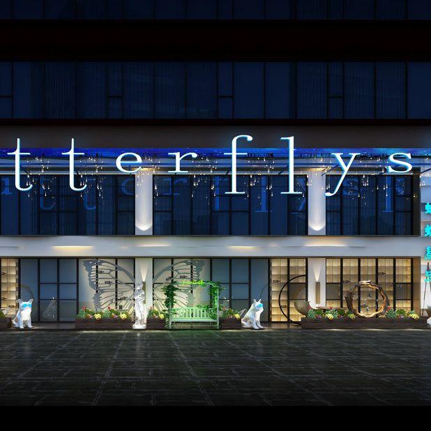 银川餐厅设计—蝴蝶星空主题餐厅设计案例