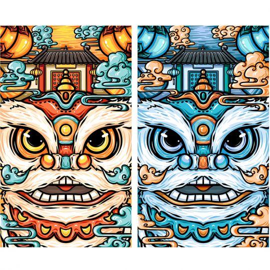 国潮风插画-舞狮