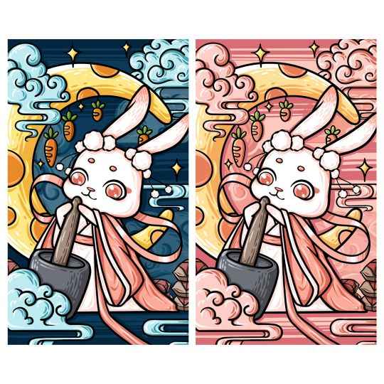 国潮风插画-月兔